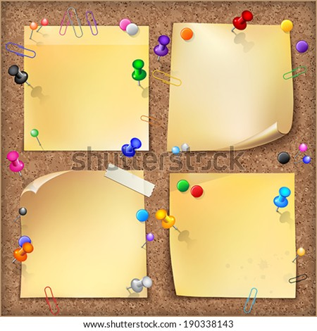 Note papers with pins and paper clips on cardboard background.    Vector illustration.  - stock vector