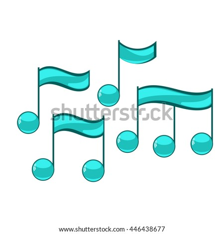 Note sing icons set. Musical symbol. Vector illustration - stock vector