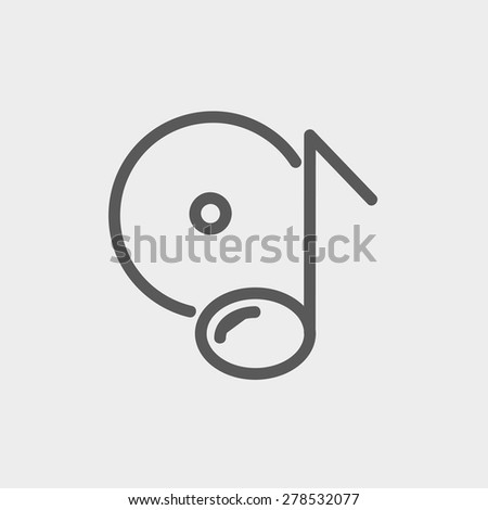 Note with phonograph record icon thin line for web and mobile, modern minimalistic flat design. Vector dark grey icon on light grey background. - stock vector