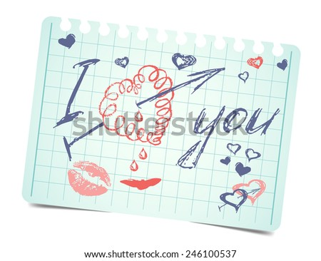 note with text and hearts I love you. Vector love valentines card - stock vector
