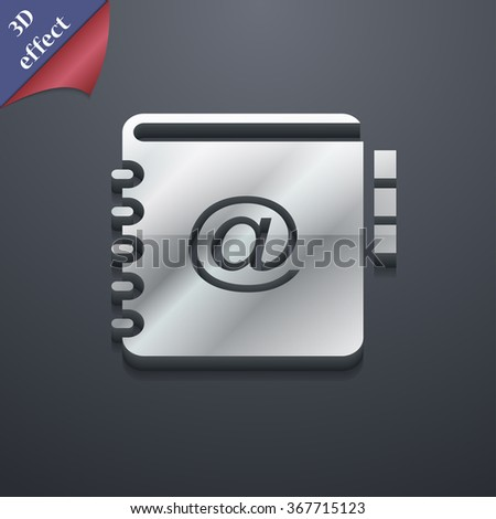Notebook, address, phone book icon symbol. 3D style. Trendy, modern design with space for your text Vector illustration - stock vector
