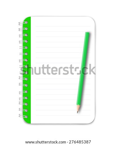 Notebook and green pencil vector - stock vector
