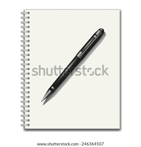 Notebook and pen isolated on white background. Vector illustration - stock vector