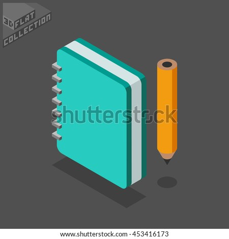 Notebook and Pencil Icon. 3D Isometric Low Poly Flat Design. Vector illustration. - stock vector