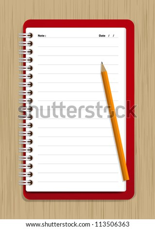 Notebook and Pencil Vector on wood background - stock vector