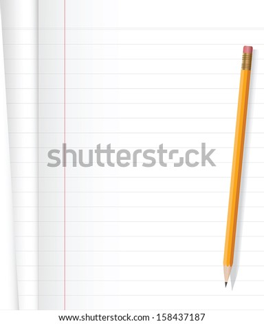 Notebook and yellow pencil on white background .Vector file. - stock vector