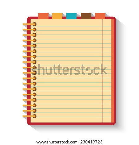 Notebook isolated on whitr background. Flat design. - stock vector