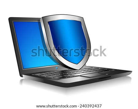 Notebook Laptop with shield - Internet security concept  - stock vector