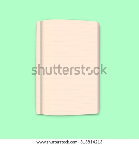 Notebook on green background vector - stock vector