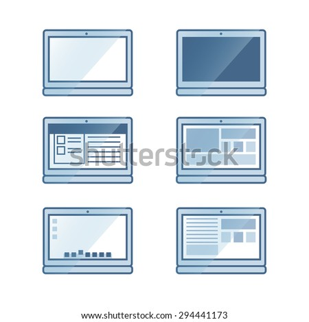 Notebook or laptop icon set in vector - stock vector