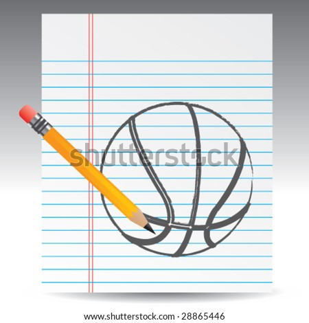 notebook paper and basketball - stock vector