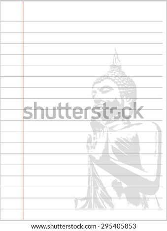 Notebook paper background, Buddha background - stock vector