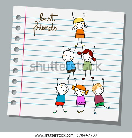 notebook paper best friends, happy kids playing - stock vector