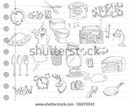 Notebook paper doodles. Set number 2 - stock vector