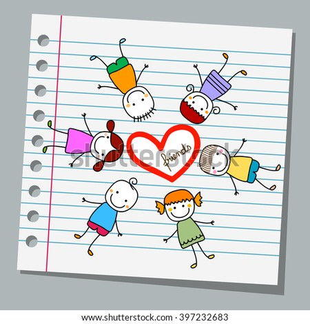 notebook paper happy kids playing - stock vector