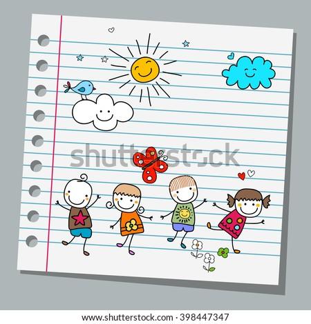 notebook paper happy kids summer day - stock vector