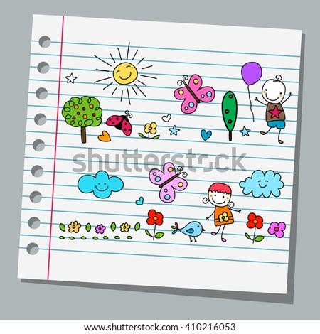 notebook paper happy summer day - stock vector