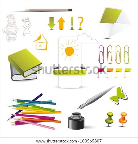 notebook pencil icons - stock vector