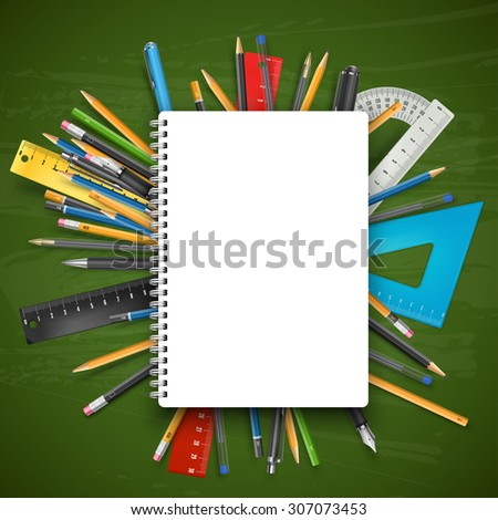 Notebook, pens and pencils over chalkboard. Back to school theme vector illustration. - stock vector