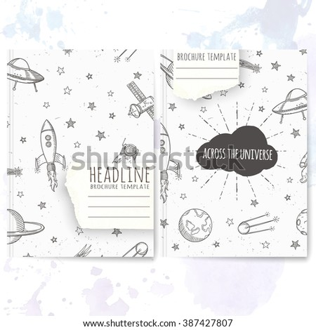Notebook template with hand drawn astronomy doodles. Vector editable notebook cover. - stock vector