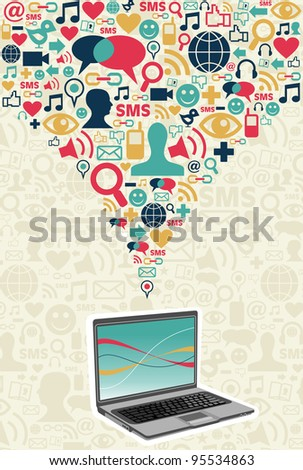 Notebook under social media icons on light texture background.  Vector file available. - stock vector