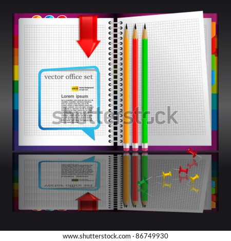 Notebook with bookmarks and pencils | EPS10 Vector Illustration - stock vector