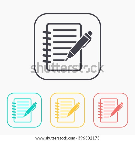 Notebook with pen color icon set  - stock vector