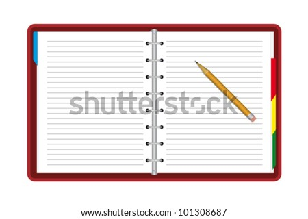 Notebook with pencil - stock vector