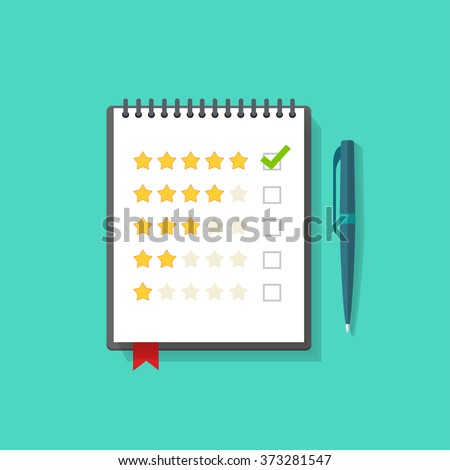 Notebook with rating stars and pen vector illustration, concept of satisfaction feedback, customer reviews, rating service, testimonials, voting, quality control modern flat design isolated on green - stock vector