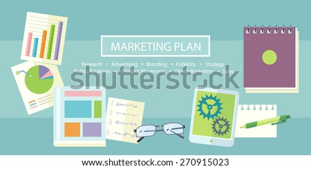 Notebook with text marketing plan, research, advertising, branding, publicity, strategy, public relations, product placement, direct marketing and sales on table with office objects - stock vector