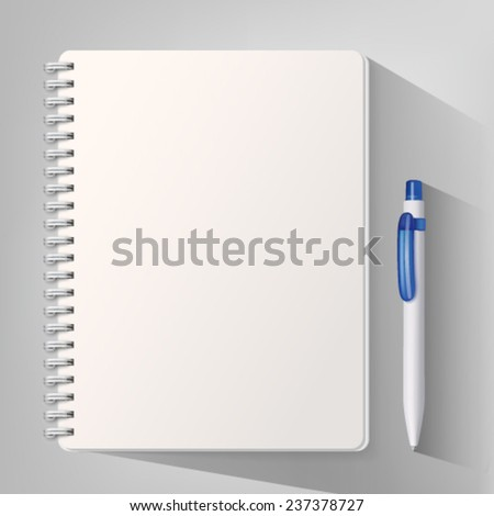 Notebook with white ballpoint pen. Vector illustration - stock vector