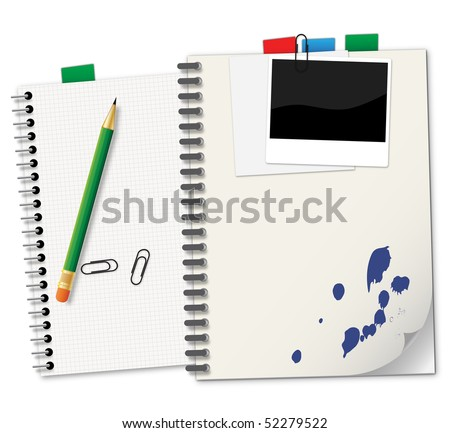 Notebooks and green pencil - an illustration for your design project. - stock vector