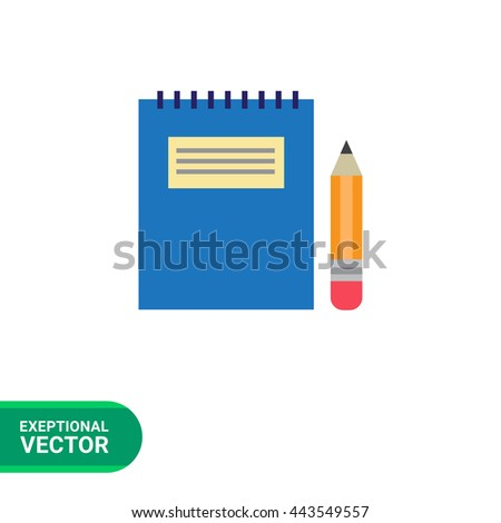 Notepad and pencil - stock vector