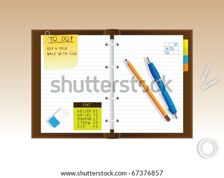 notepad diary - realistic illustration - stock vector
