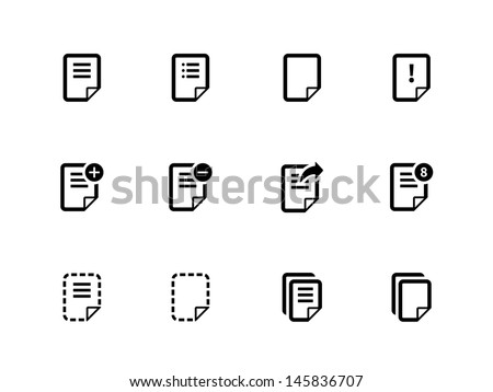 Notepad Document file and Note icons isolated on white. Vector Illustration. - stock vector