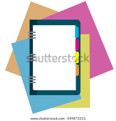 notepad, paper sheet isolated on white background whith place for text. Vector illustration in flat design - stock vector