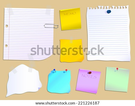 Notes and paper scraps pinned to a notice board  - stock vector