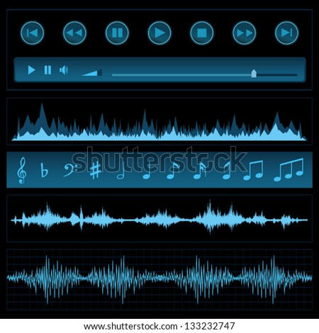 Notes and sound waves. Music background. - stock vector