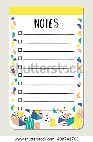 Notes paper for organized you planner. Template for scrapbooking, sticker, wrapping, wedding invitation, notebooks, diary. - stock vector