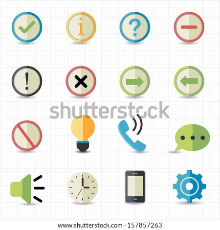 Notification and Information icons - stock vector