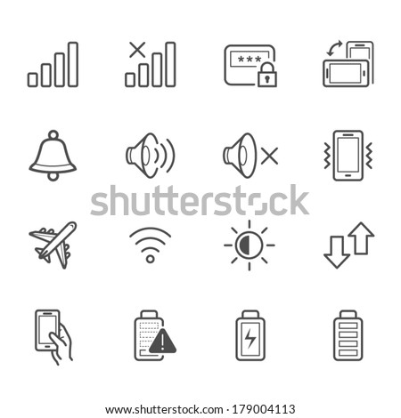 Notification Icons for Mobile Phone and Application - stock vector