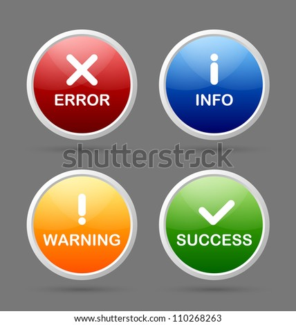Notification icons suitable for custom web design and computer purposes - stock vector