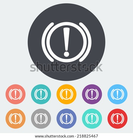 Notification of problems with the brake system. Single flat icon on the circle. Vector illustration. - stock vector