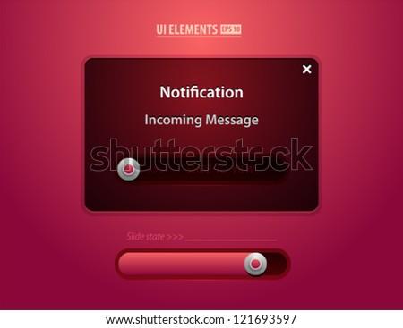 Notification Web UI incoming message slider - stock vector