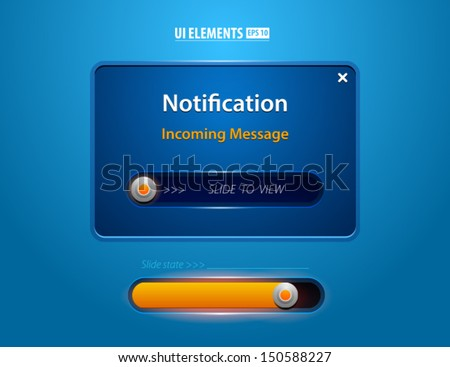 Notification Web UI incoming message slider. Modern vector elements. Slider design. - stock vector