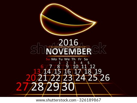 November 2016 calendar dark technology 3d style abstract background. Vector Illustration. - stock vector