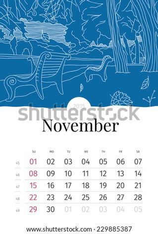 November. Hand drawn calendar. 2015 - stock vector