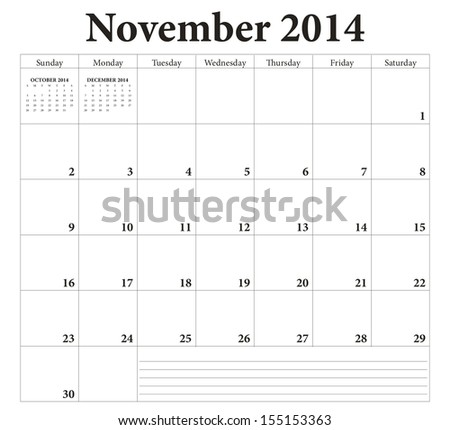 November 2014 -planning calendar. Weeks start on Sunday. - stock vector