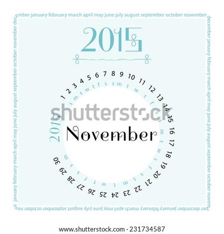 November. 2015 round calendar. Vector illustration. - stock vector