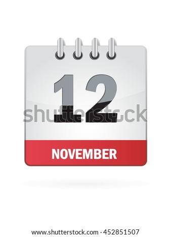 November Twelve. Calendar Icon - stock vector